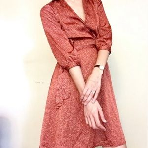 H&M Red Brown Long Sleeve Dress Size Large
